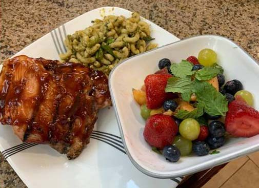 Honey BBQ Chicken, Pasta with Asparagus and Fruit Salad with Honey & Mint