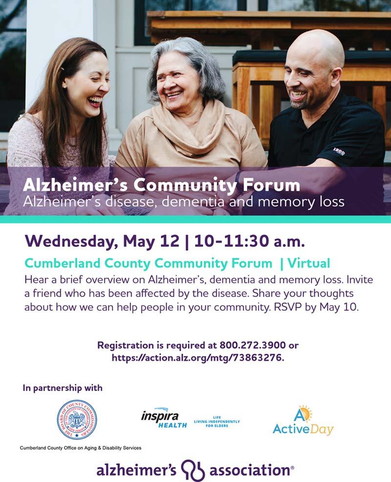 Alzheimer virtual meeting flier